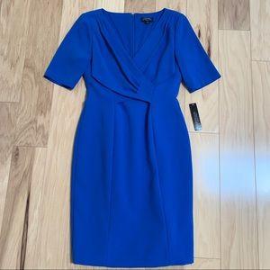 Tahari Royal Blue Short Sleeve Sheath Dress